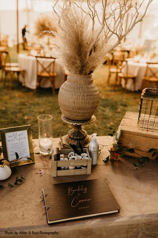 Boho guest book table