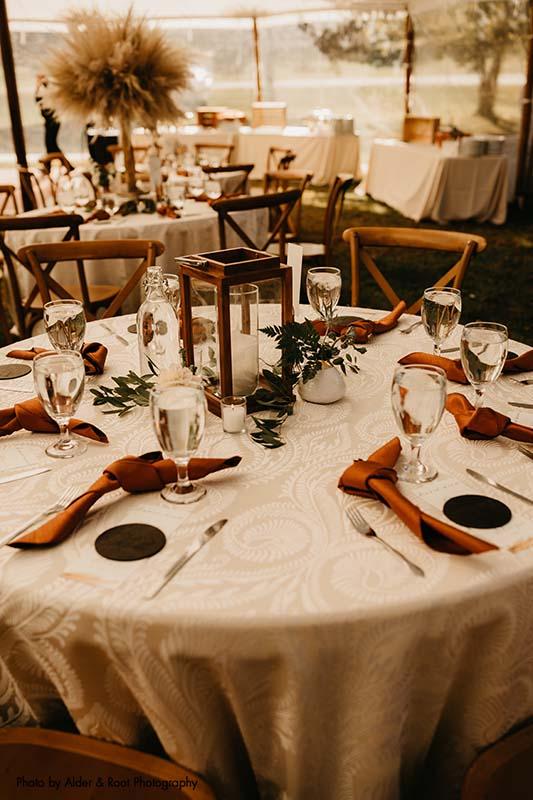 Boho and earthy wedding tabletop decor