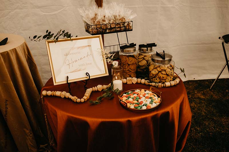 Dessert table with cookies and treats at wedding