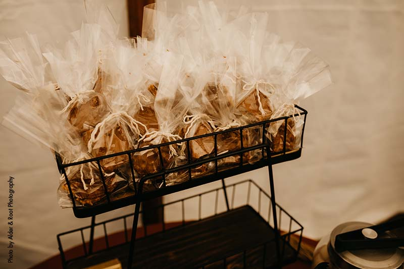 Individually wrapped cookies at wedding