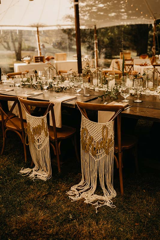 """Macrame """"Bride"""" and """"Groom"""" chair signs"""