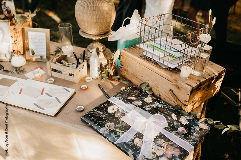Wedding gift table at Minnesota wedding
