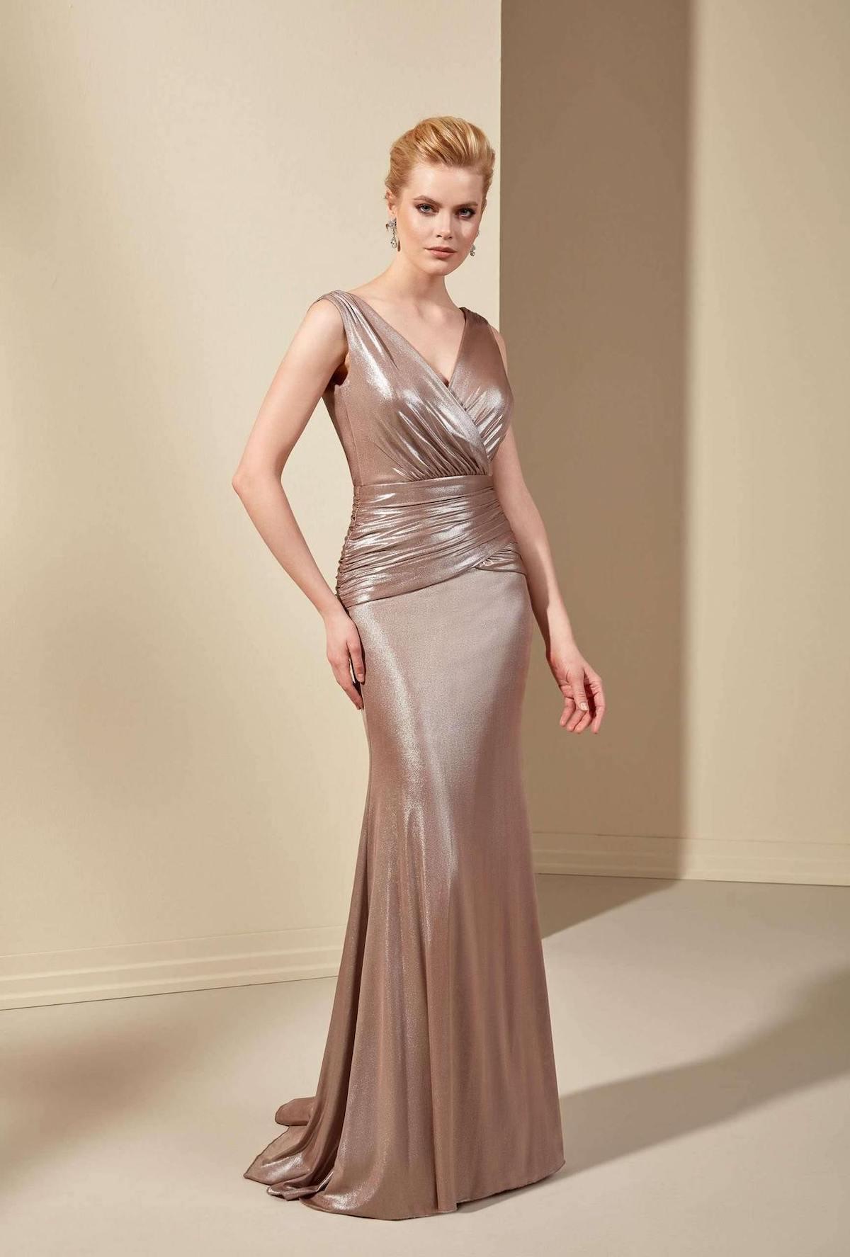 V-neck metallic rose gold dress for mother of the bride or groom