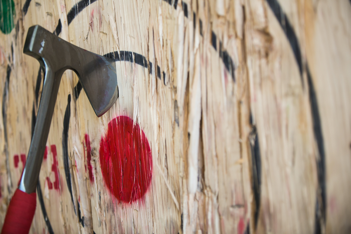 Axe throwing board at FlannelJax's in St. Paul