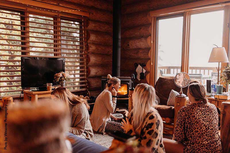 Bridal party gets ready in cabin