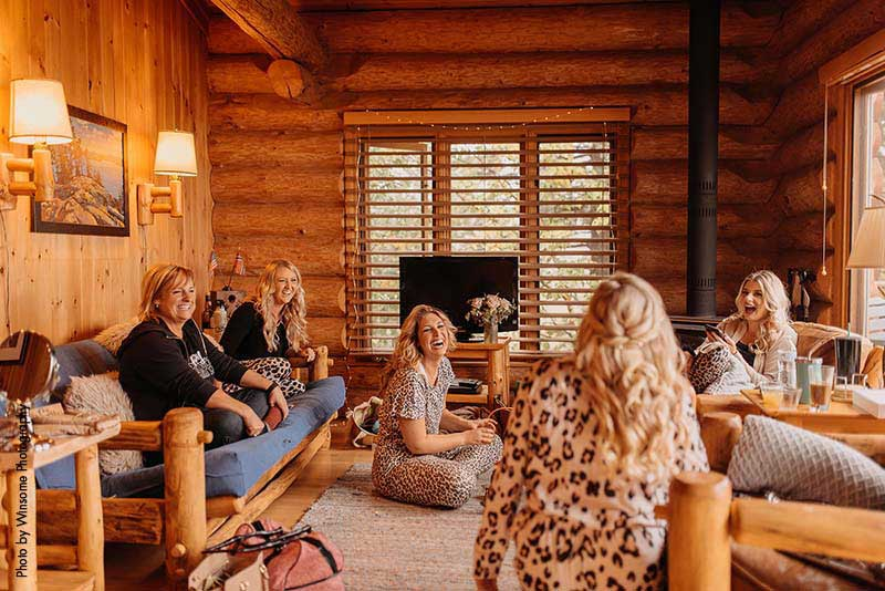 Bridal party in leopard outfits get ready for wedding