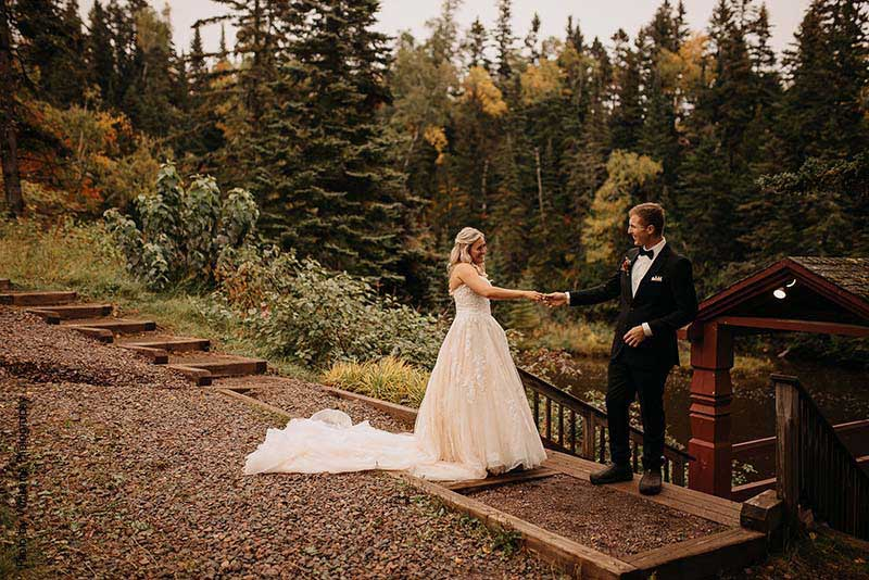 Bride and groom share first look outside