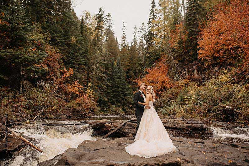 Bride and groom at fall wedding