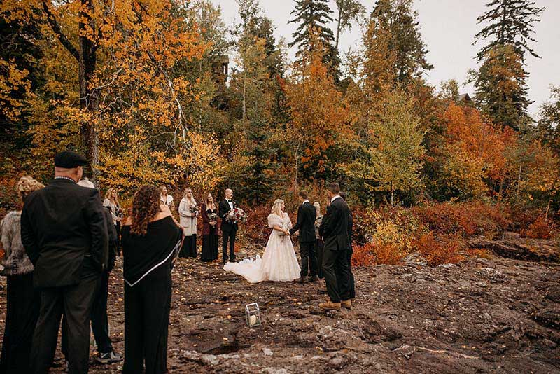 Northern Minnesota outdoor fall wedding ceremony
