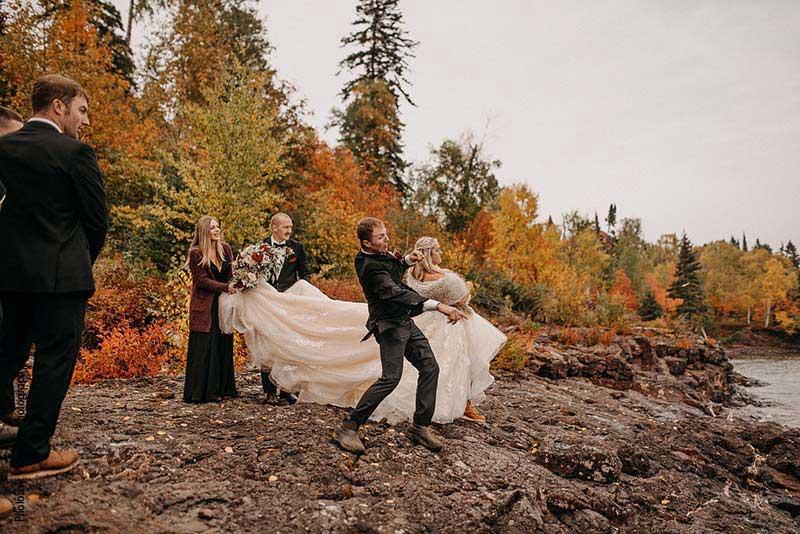 Bride and groom skip rocks as unity ceremony