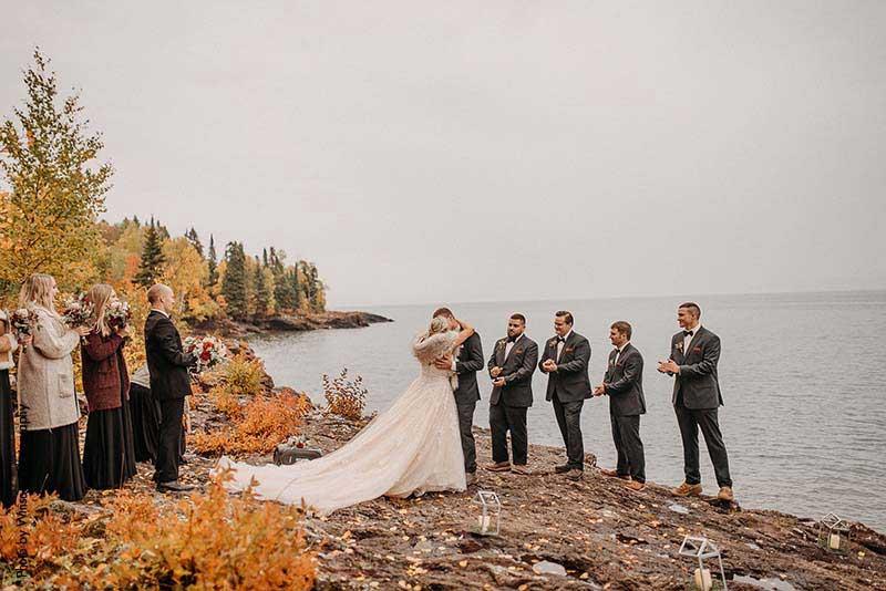 Wedding ceremony on the North Shore at Lutsen Resort