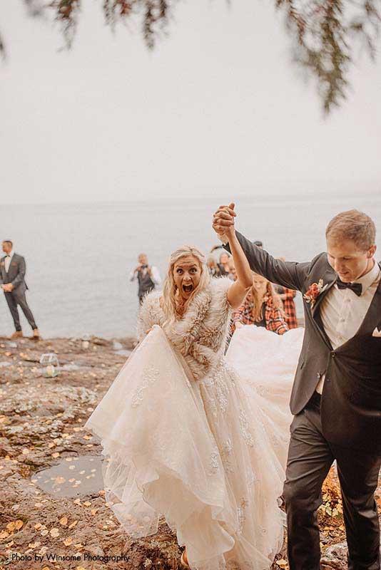 Bride and groom celebrate wedding ceremony