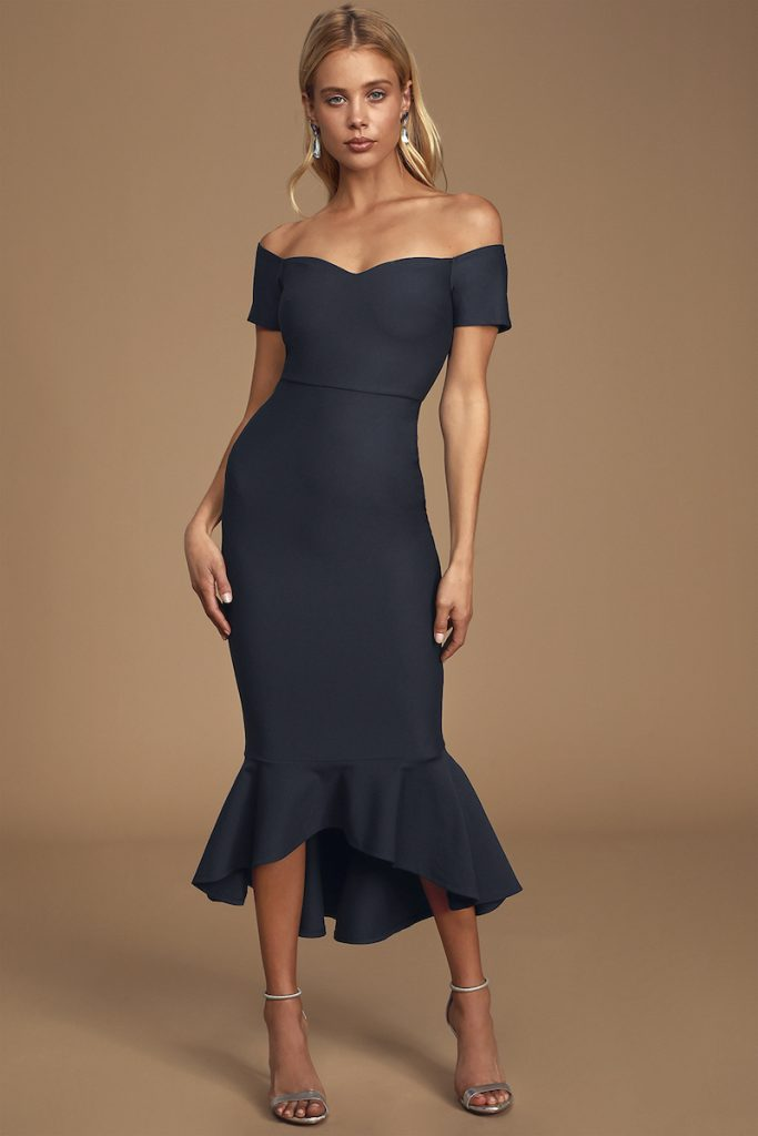Fitted navy off-the-shoulder midi dress