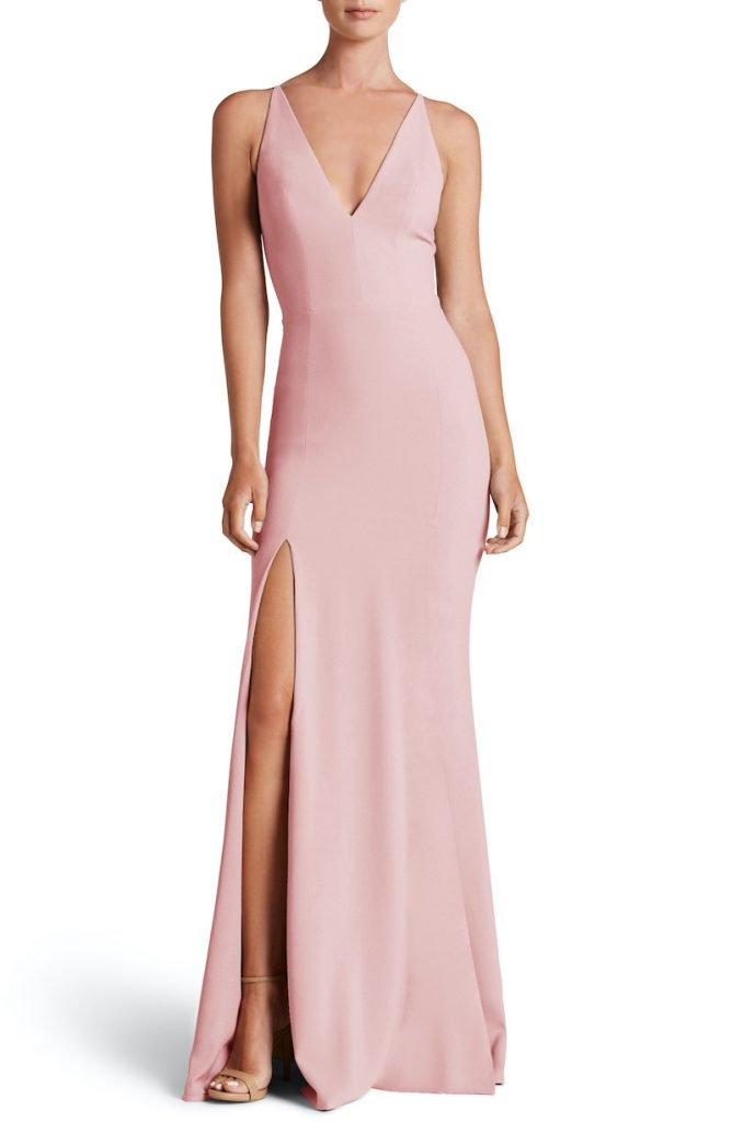 Look amazing at a summer wedding with a light pink trumpet long dress