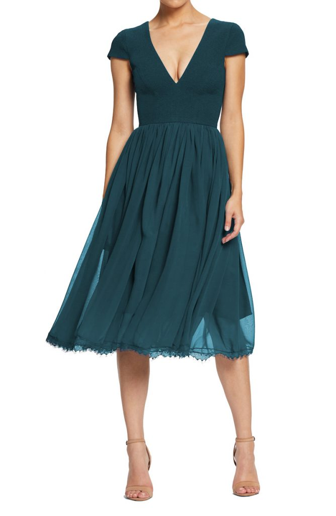 Chiffon teal fit-and-flare dress for summer wedding