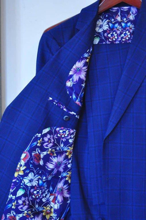 Custom royal blue groom's suit