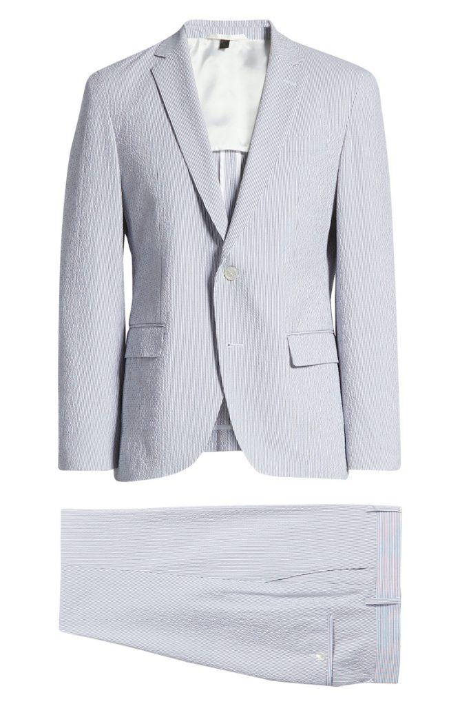 Light blue striped seersucker suit