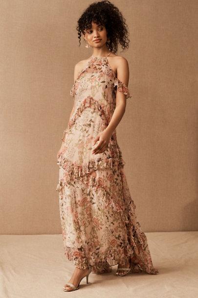 Floral boho beige high-neck summer wedding guest dress