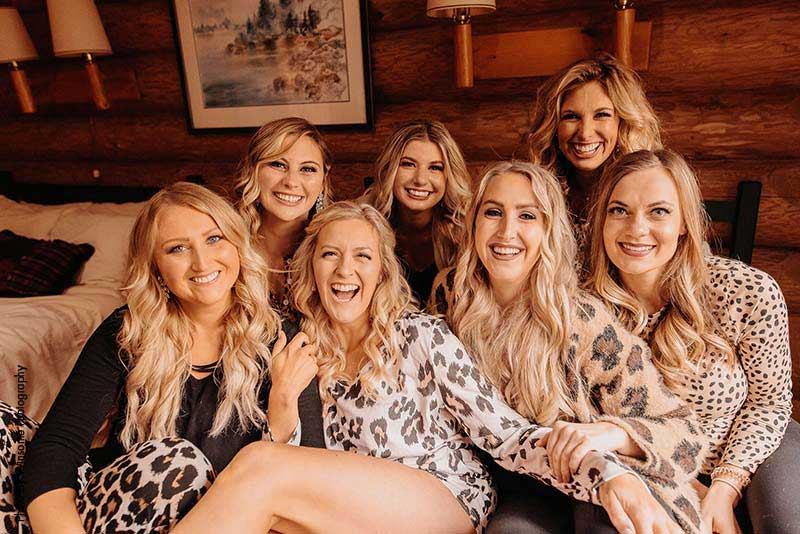 Bridal party gets ready in leopard print outfits