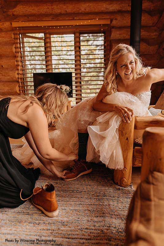 Bride puts on Red Wing boots