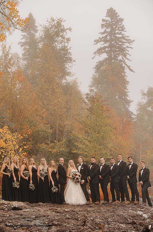 Minnesota wedding party poses for photo on the North Shore