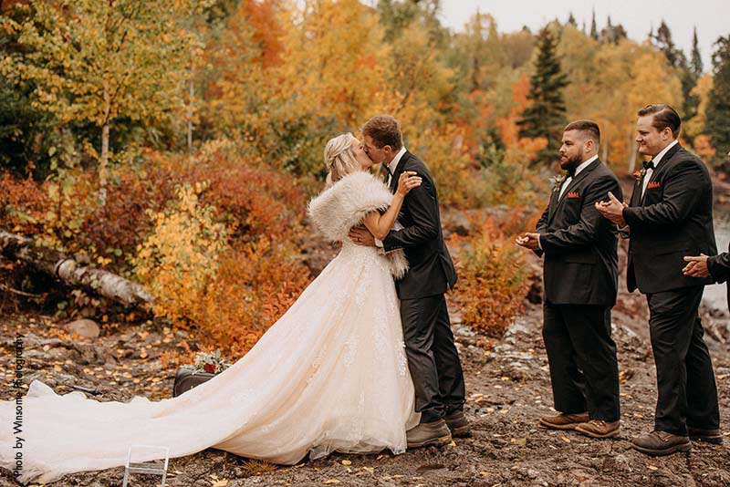 Wedding ceremony in Northern Minnesota in the fall