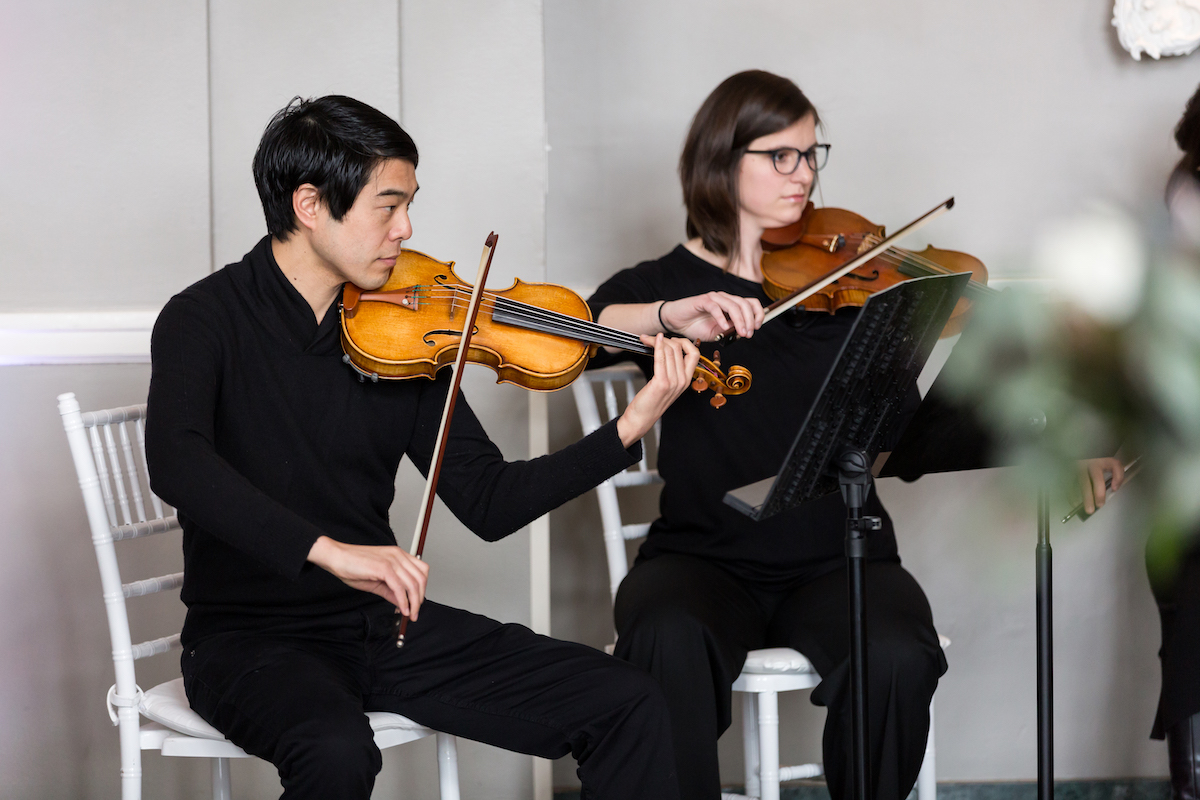 String quartet plays at wedding