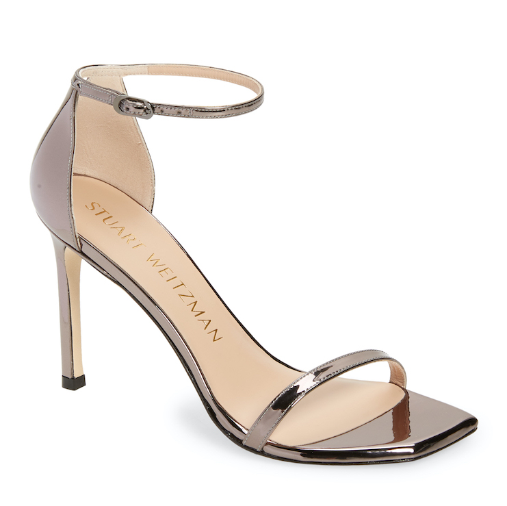 Strappy metallic short heel
