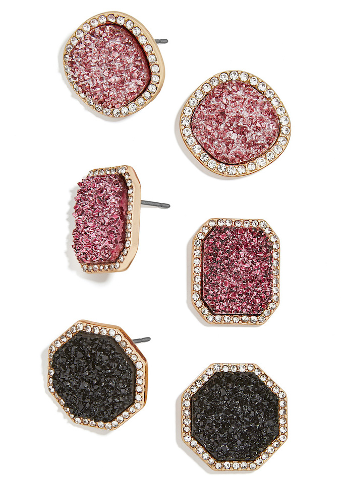 Rose gold and black and gold stud earrings