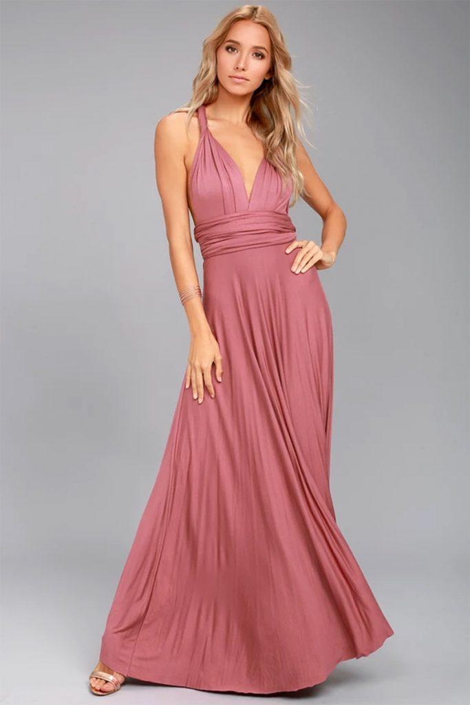 Long mauve empire wast dress for summer wedding