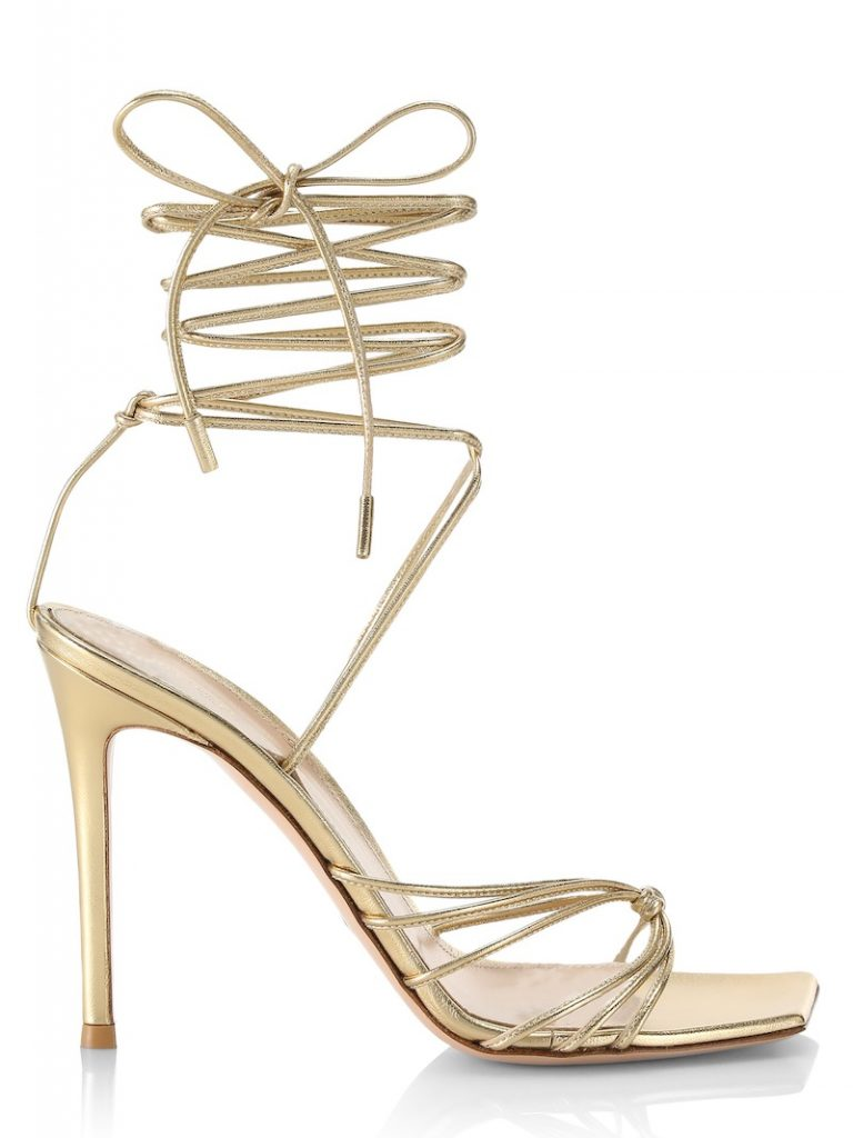 Strappy high-ankle gold heels