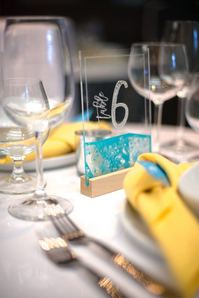 Acrylic wedding table number with teal pattern