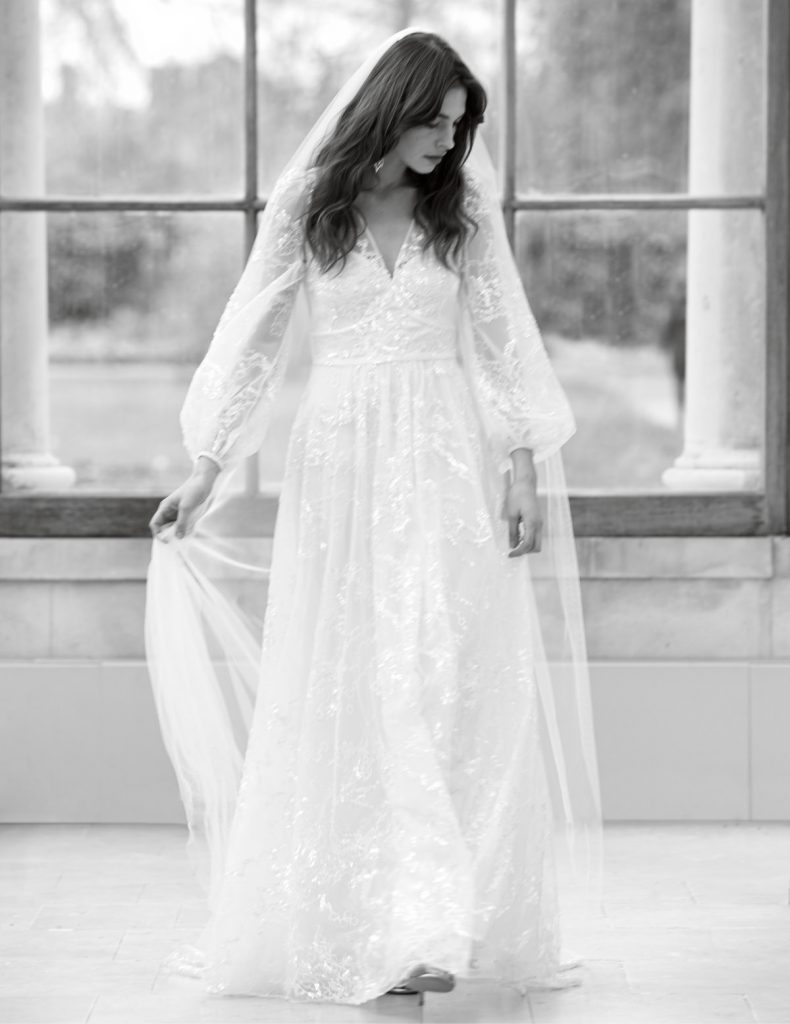 Sheer tulle bridal gown with balloon sleeves