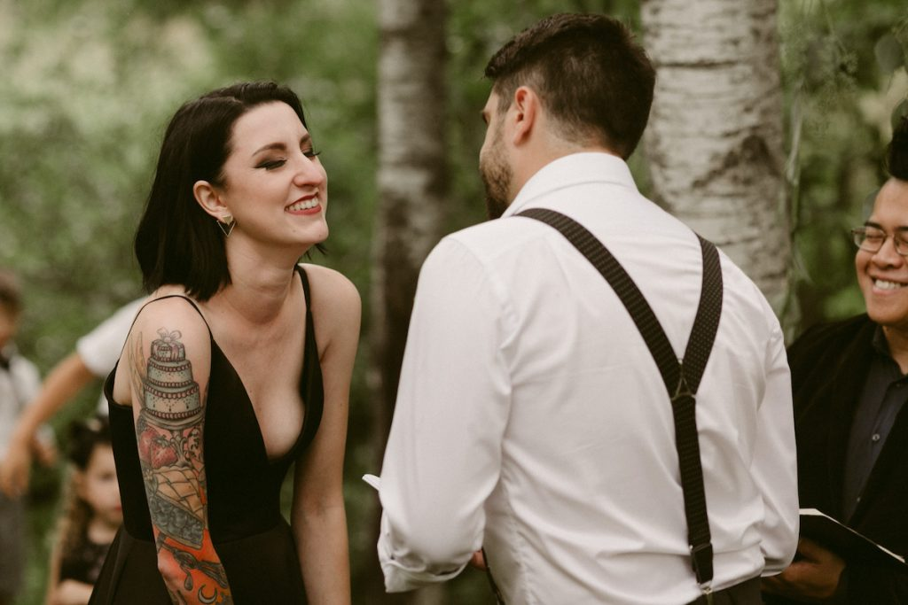 Couple shares vows at wedding ceremony