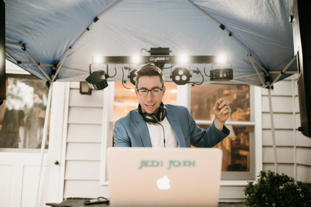 DJ of Harmony DJ plays at wedding reception