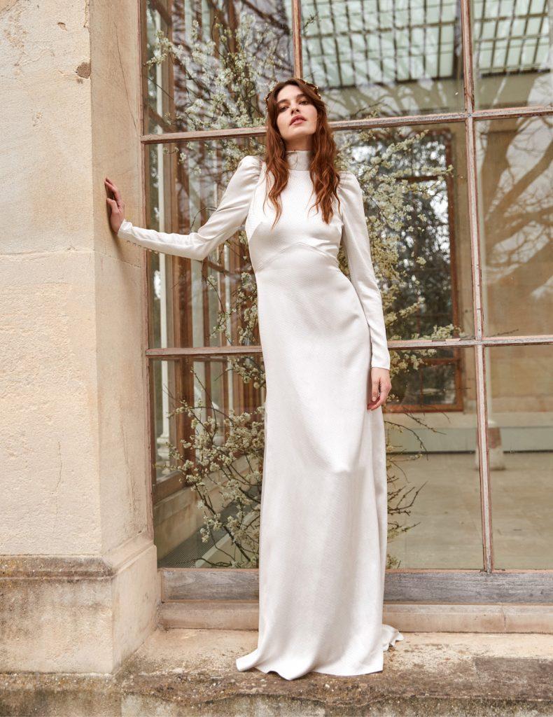 High neck silk bridal gown