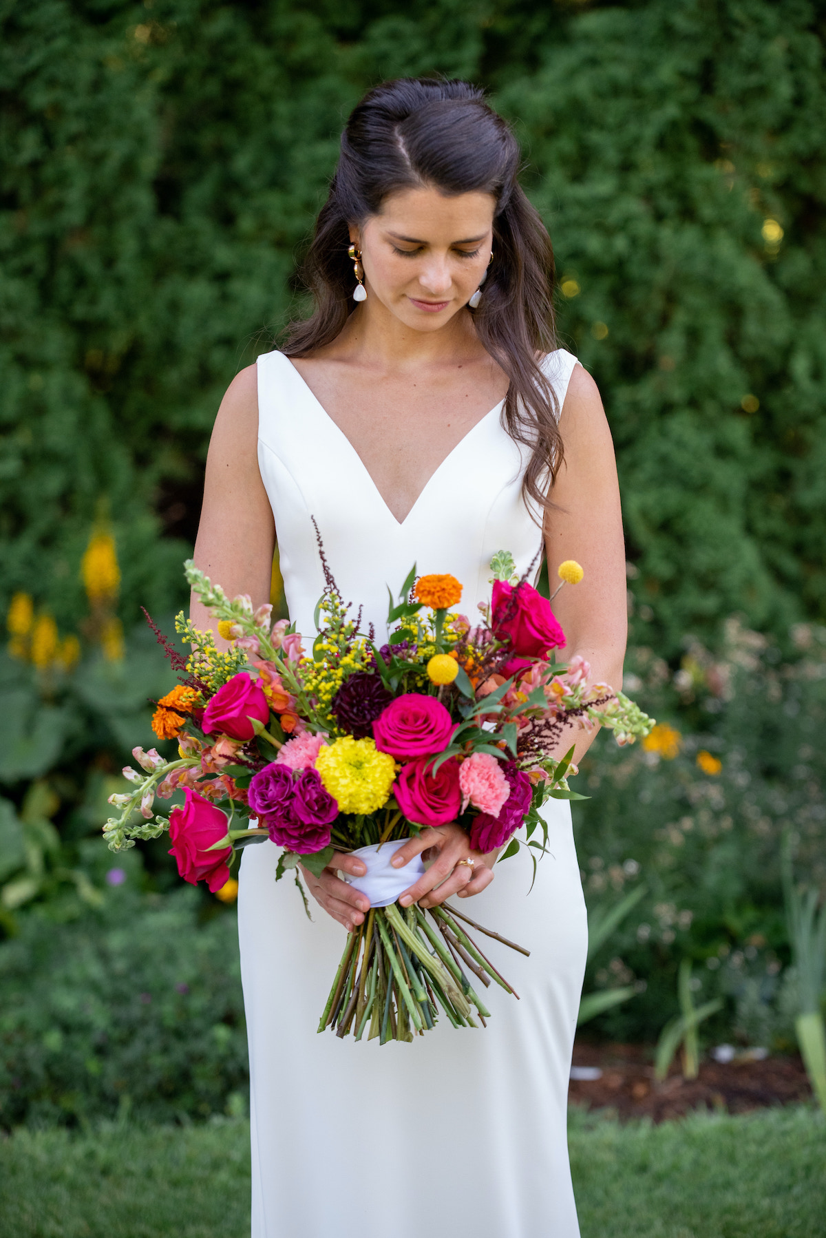 Colorful traditional summer bouquet for bride