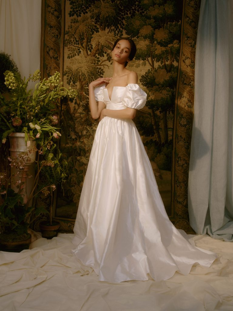 Bridal ballgown with off-the-shoulder puffy sleeves