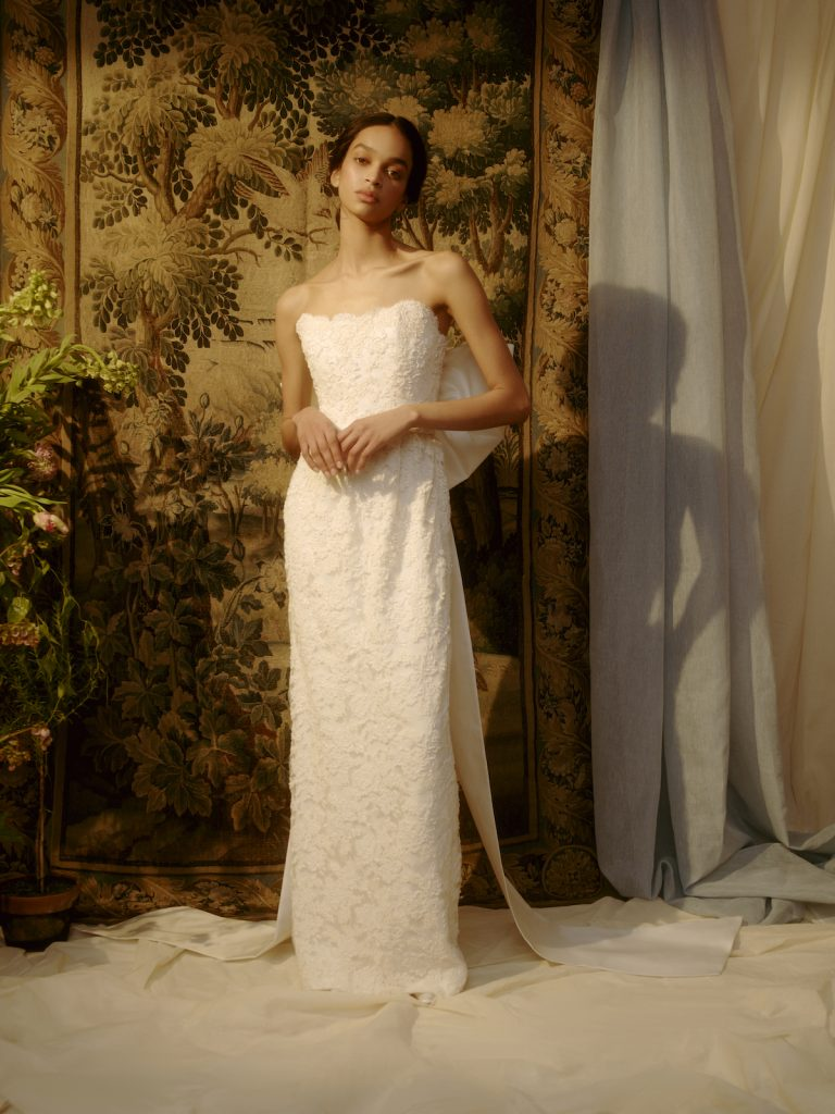 Strapless embellished bridal gown