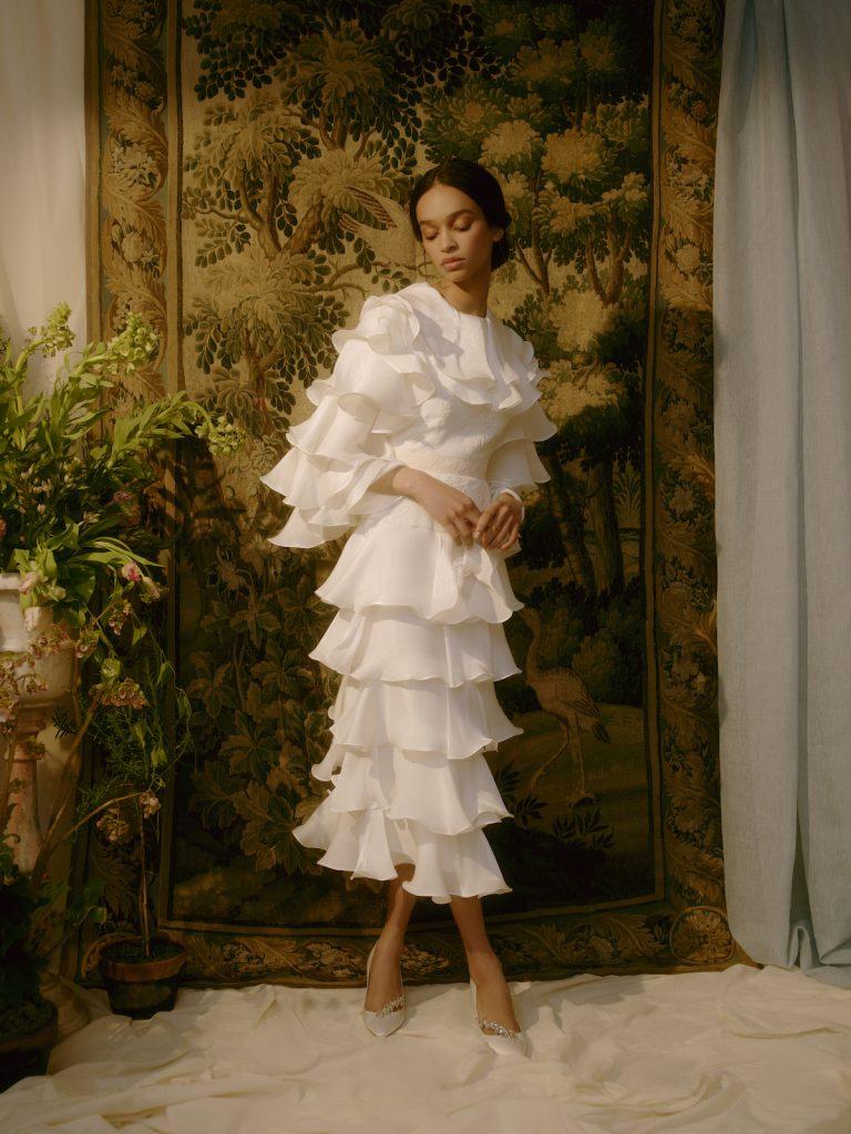 Tea-length wedding dress with tiers