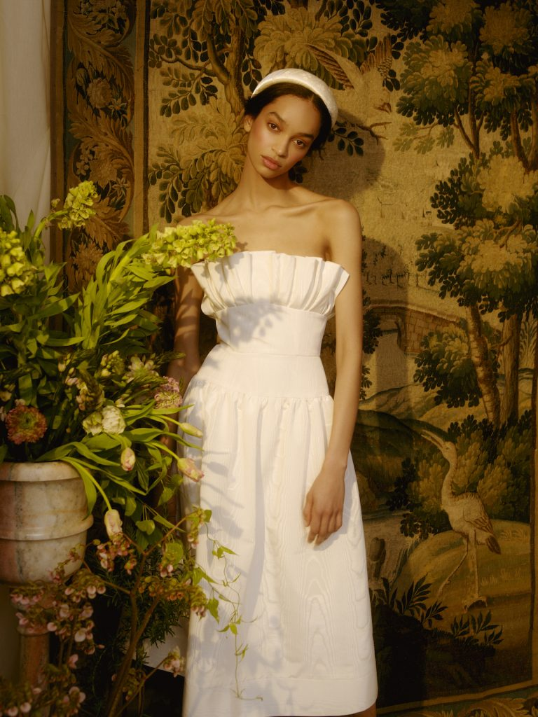 Midi strapless bridal gown