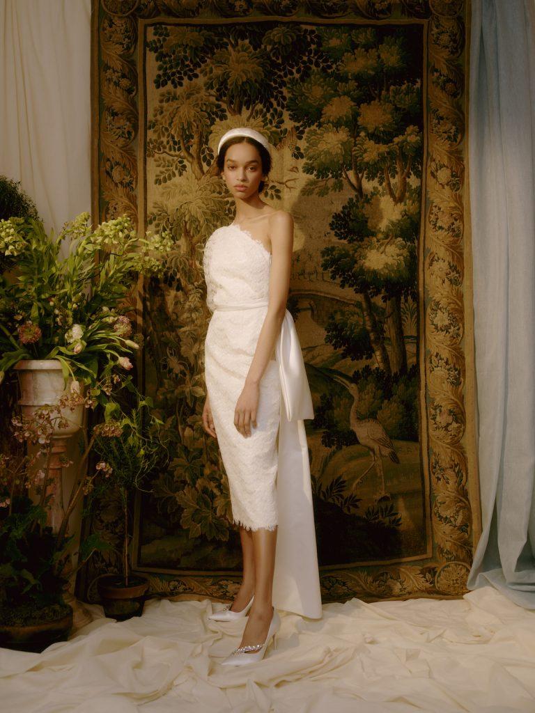 Calf-length one-shoulder bridal gown