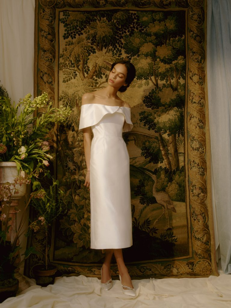 Tea-length bridal gown for micro wedding