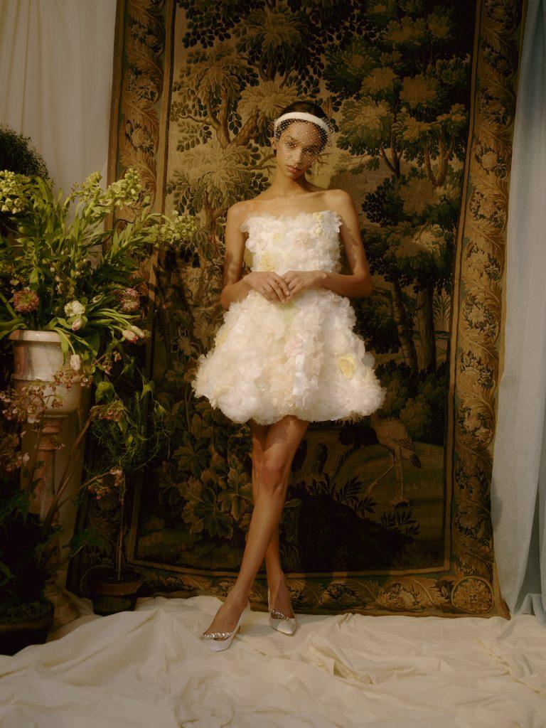 Short floral bridal gown
