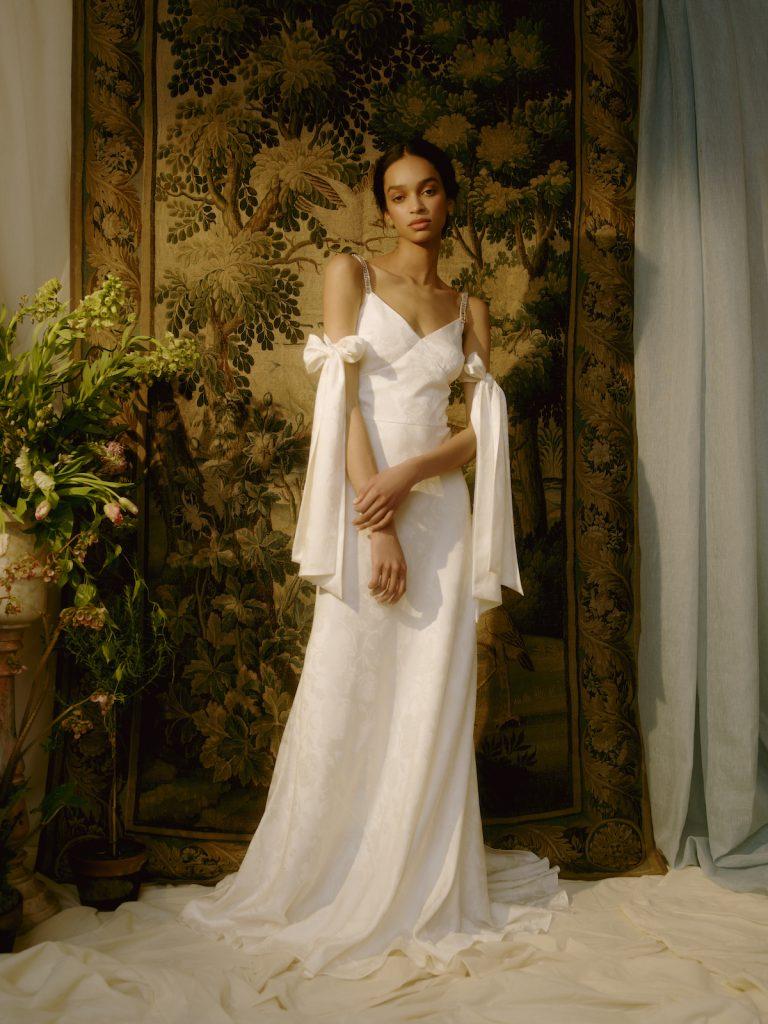 V-neck column gown
