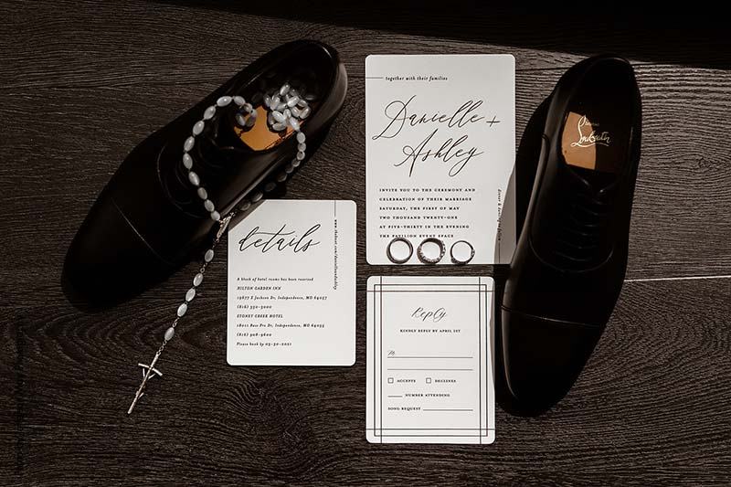 Scripted white and black wedding invites