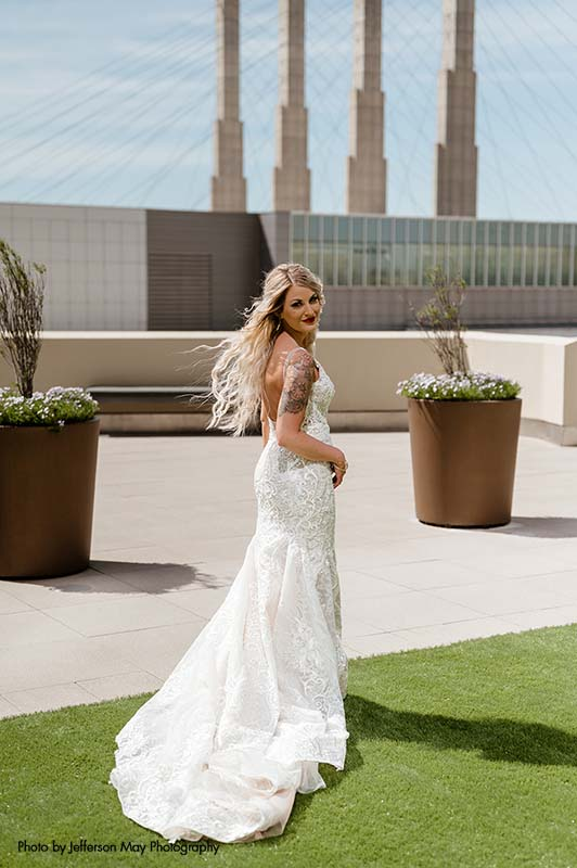 Bride in Kansas City on rooftop