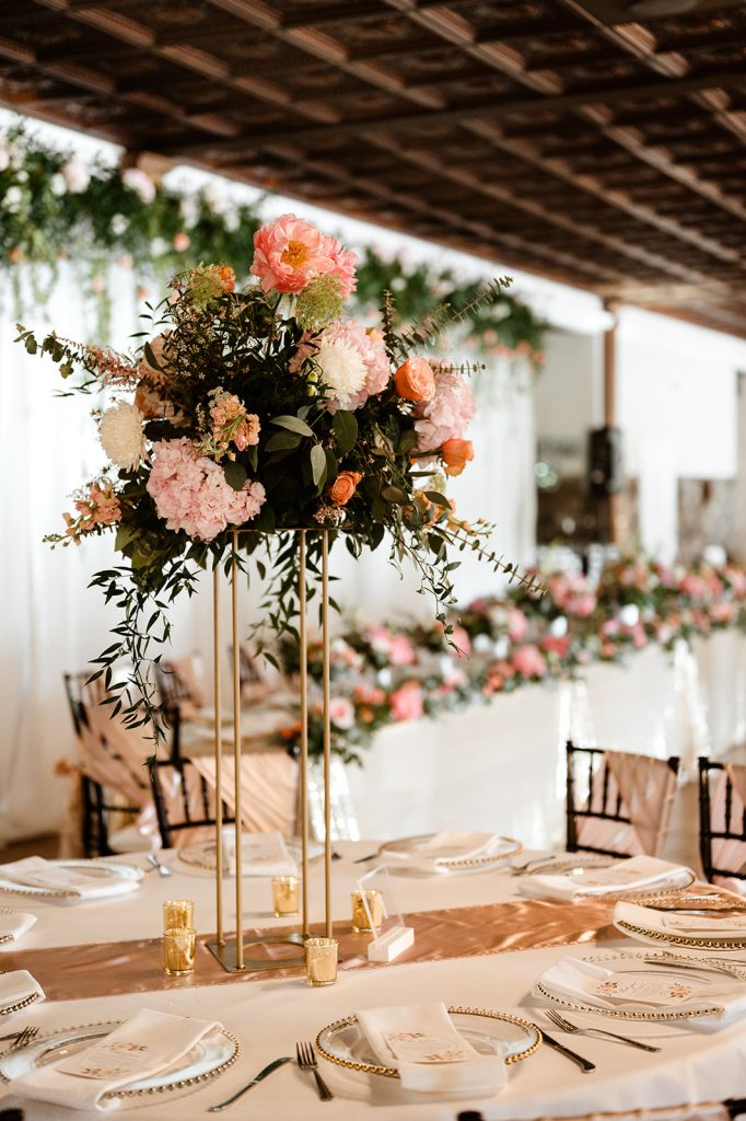 Modern formal wedding floral centerpieces