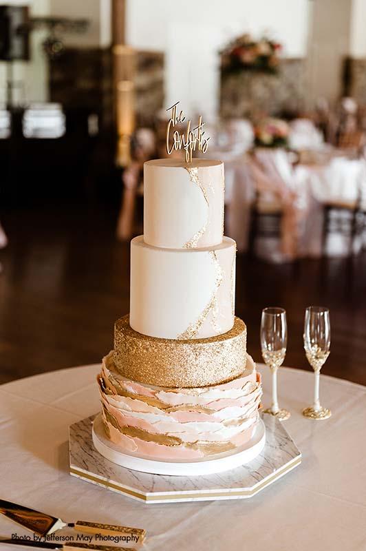 4-tier rose gold wedding cake