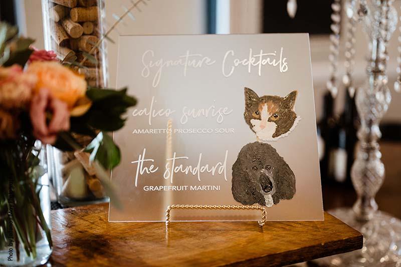 Custom cocktails at wedding named after pets